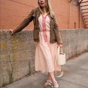 Lemlem pink white striped boho midi dress M